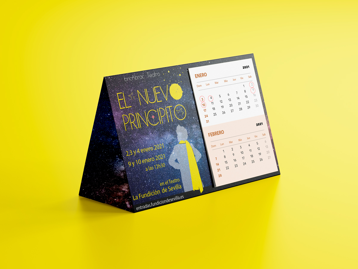 CALENDARIO - EL NUEVO PRINCIPITO Diseño del calendario de EL NUEVO PRINCIPITO de bricAbrac Teatro en Sevilla. (España). Diciembre 2020 #gráfico / #calendario / #Diseño / #promoción / #bricAbracTeatro / #teatro