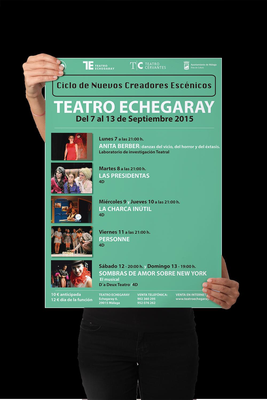CARTEL – CICLO DE NUEVOS CREADORES ESCÉNICOS Diseño del Cartel del Ciclo de nuevos creadores escénicos en el Teatro Echegaray para 4D, Málaga (España). #gráfico / #Cartel / #artwork / #berth99 / #4D / #CicloDeNuevosCreadoresEscénicos